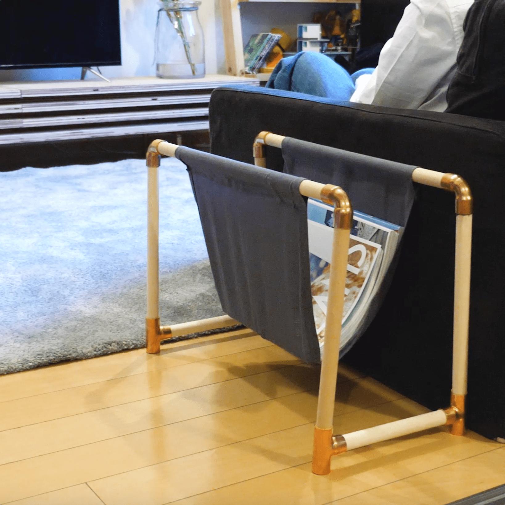 銅管と接着剤、丸棒で簡単にできる!リビングにぴったりな雑誌ラック